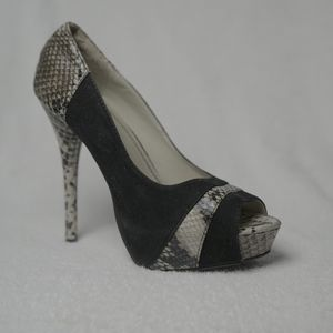 Shoes - Black Suede And Reptile Print Open Toed Heels